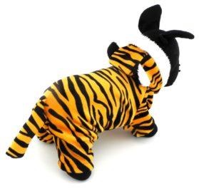 ESINGYO Pet Puppy Apparel Small Dog Cat Clothes Warm Fleece Tiger Halloween Costume Party Clothing