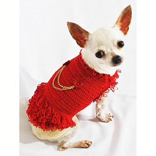 Free Crochet Patterns For Dog Halloween Costumes : Michael Jackson Dog Costumes Red Cotton Handmade Crocheted