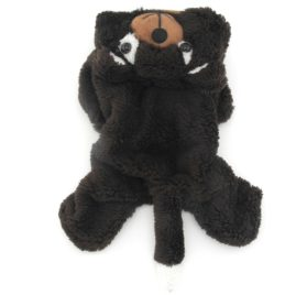 SMALLLEE_LUCKY_STORE Pet Small Dog Cat Clothes Warm Coral Velvet Bear Costume Halloween Dress Up Coffee 2