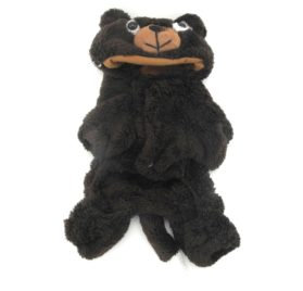 SMALLLEE_LUCKY_STORE Pet Small Dog Cat Clothes Warm Coral Velvet Bear Costume Halloween Dress Up Coffee
