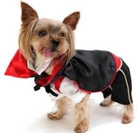 eSingyo Black Red Vampire Costume Halloween Party Photo Jumpsuit Cloak Coat Small Pet Dog Clothes