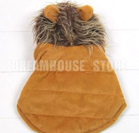 smalllee_lucky_store Pet Cat Dog Clothes Brown LION Dog Pet Halloween Costume Jacket Vest Clothes XS S M L XL