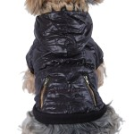 Anima Bubble Jacket with Fur Trim Hood, X-Small, Black
