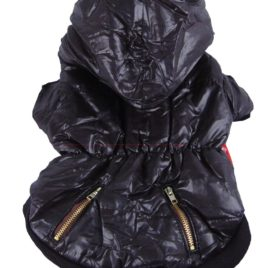 Anima Bubble Jacket with Fur Trim Hood, X-Small, Black 2
