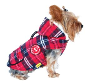Anima Plaid Stuff Parka, Twill Overcoating, Snap Button Closure, X-Small, Red