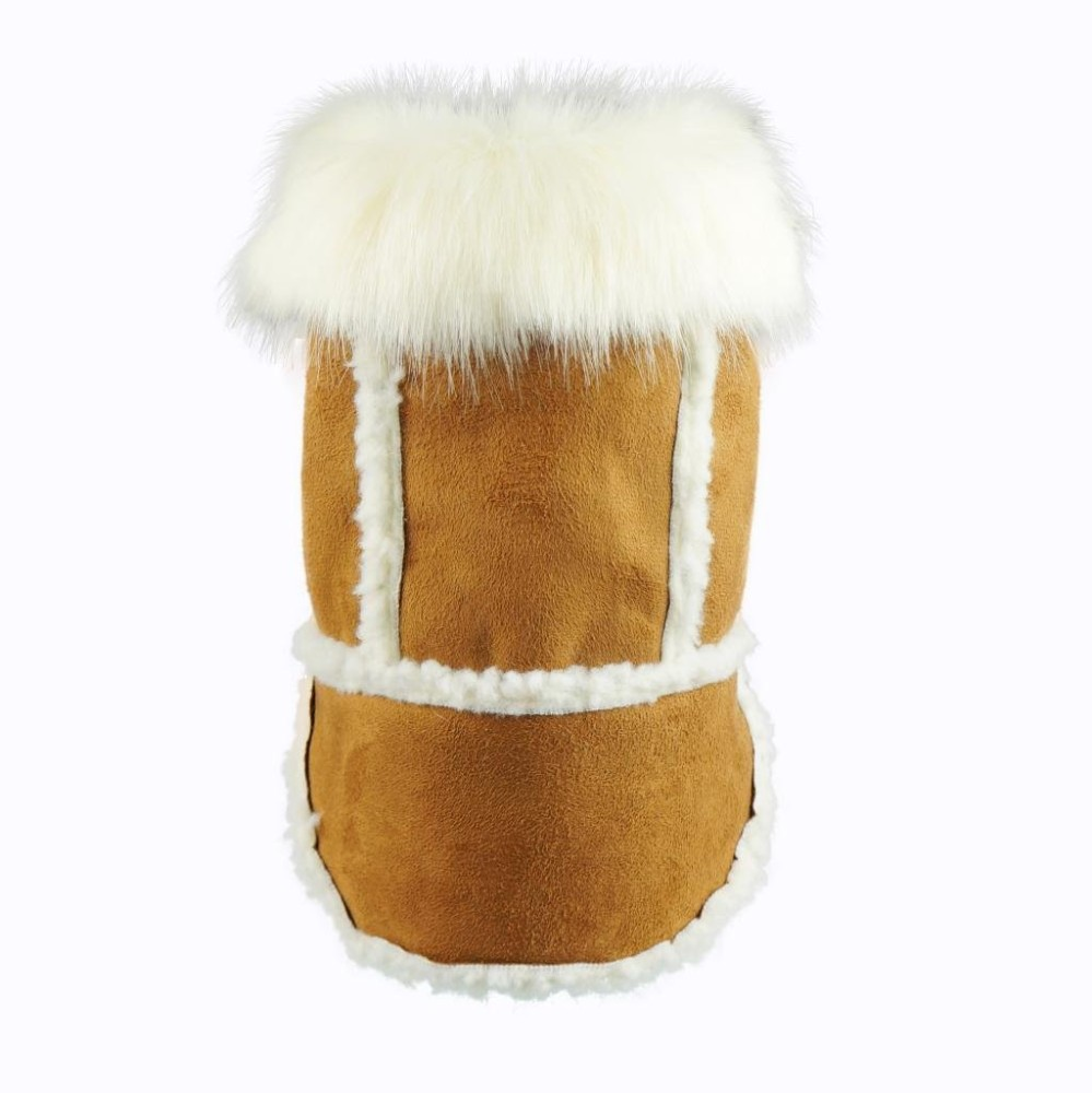 Fitwarm Faux Shearling Pet Jacket for Dog Winter Coats Hooded Clothes