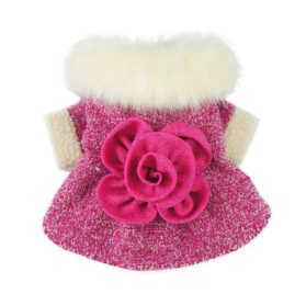 Fitwarm High Quality Elegant Pink Floral Faux Furred Dog Coats Pet Clothes Winter Dresses