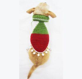 Myknitt Christmas Designer Dog Clothes Elf Pet Costume Sweater Handmade Df7 Free Shipping