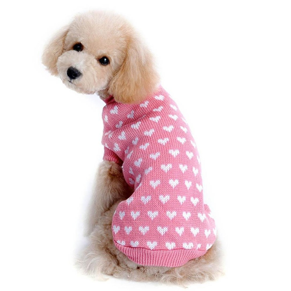 Outtop Dogs Cold Weather Knitting Love Heart Sweater Shirt for Small