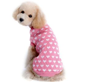 Outtop Dogs Cold Weather Knitting Love Heart Sweater Shirt for Small-sized Dogs Dachshund, Poodle, Pug, Chihuahua, Shih Tzu, Yorkshire Terriers, Papillon