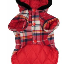 PET CONDO Pet Cat Dog Oxhorn Snaps Winter Cotton Coat Jacket Hooded Small Boy Girl Dog Clothes Red XS 2
