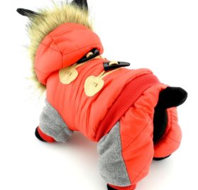 PETCONDO Small Pet Clothes for Dogs Cats Fleece Lined Horn Button Winter Coat Hooded Jacket Costume Clothing Water-resistant