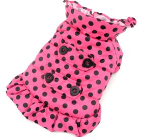 PETCONDO Small Pet Dog Cat Clothes Warm Fleece Lined Hoodie Trench Coat Girl Jacket Polka Dot