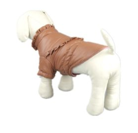 Pet Dog Clothing Winter Leather Jacket Coats Waterproof Chihuahua Bulldog Pitbull (Khaki, XS) 2