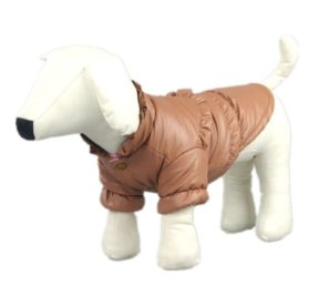 Pet Dog Clothing Winter Leather Jacket Coats Waterproof Chihuahua Bulldog Pitbull (Khaki, XS)