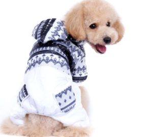 PetCondo Pet Cat Dog Coat Soft Cotton Jumpsuit Hoodie Hooded Snowflakes Small Dog Clothes Sweaters Black S 2
