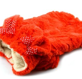 Puppy Dog Coats Cute Soft Plush Warm Winter Dog Hoodie Small Dog Clothes, Red, XS 2
