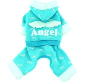 SMALLLEE_LUCKY_STORE Pet Small Dog Cat Clothes Warm Fleece ANGEL Hoodies Jacket Coat Jumpsuit Outfits Blue S