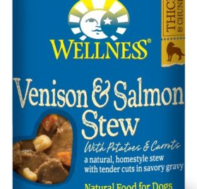 Wellness Natural Grain Free Wet Canned Dog Food, Venison & Salmon Stew with Potatoes & Carrots, 12.5-Ounce Can (Value Pack of 12)
