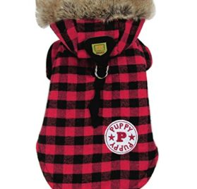 eSingyo English-Style Plaid Cotton Warm Winter Coat Jumper Hoodie Hooded Jacket Small Pet Dog Clothes Red S