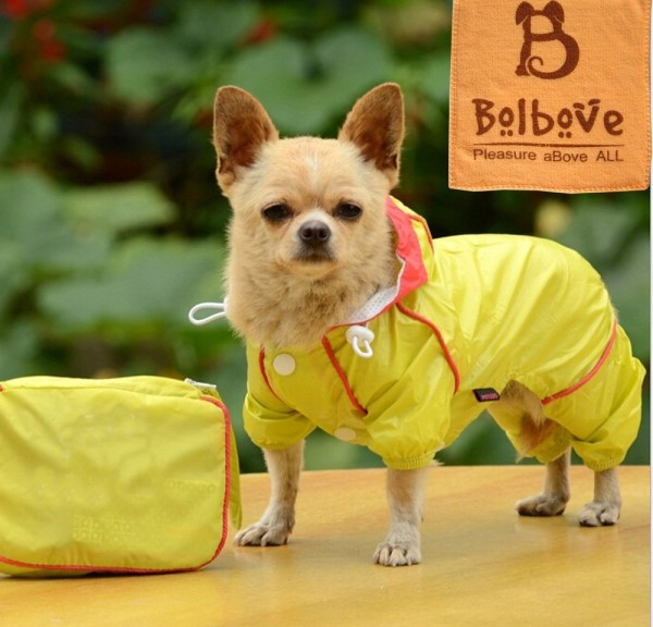 i'Pet® Polyester Puppy Small Dog 4-legged Rain Jacket + Carrying Pouch 2-layer Doggie Hooded Raincoat Lined Outdoor Rain Gear Jumpsuit Waterproof Windproof Rainy Days Slicker
