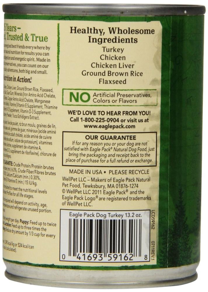 Eagle Pack Natural Wet Canned Dog Food Turkey Formula 13