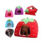 5-Sizes Portable Foldable Luxury Soft Sponge Strawberry Cat Pet Dog Tent House Kennel Doggy Puppy Cushion Pad Bed Nest 2