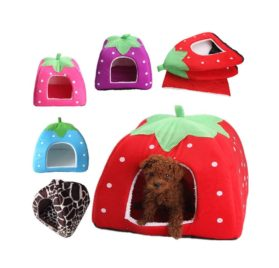 5-Sizes Portable Foldable Luxury Soft Sponge Strawberry Cat Pet Dog Tent House Kennel Doggy Puppy Cushion Pad Bed Nest 2