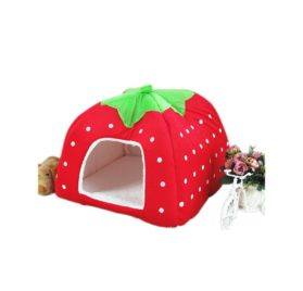 5-Sizes Portable Foldable Luxury Soft Sponge Strawberry Cat Pet Dog Tent House Kennel Doggy Puppy Cushion Pad Bed Nest