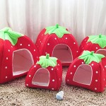 5-Sizes Portable Foldable Luxury Soft Sponge Strawberry Cat Pet Dog Tent House Kennel Doggy Puppy Cushion Pad Bed Nest 4