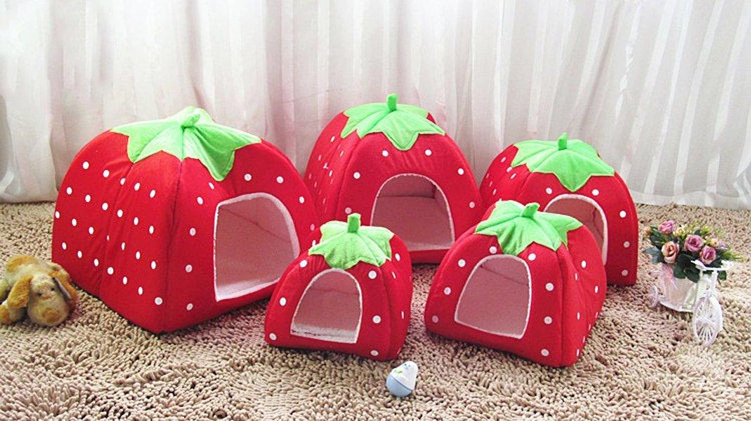 ... 5-Sizes Portable Foldable Luxury Soft Sponge Strawberry Cat Pet Dog Tent House Kennel Doggy ... & 5-Sizes Portable Foldable Luxury Soft Sponge Strawberry Cat Pet ...