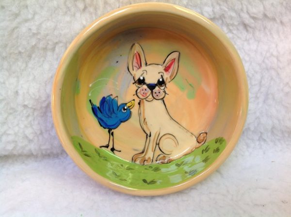 """8"""" Chihuahua Dog Bowl for Food or Water. Personalized at no Charge. Signed by Artist, Debby Carman."""