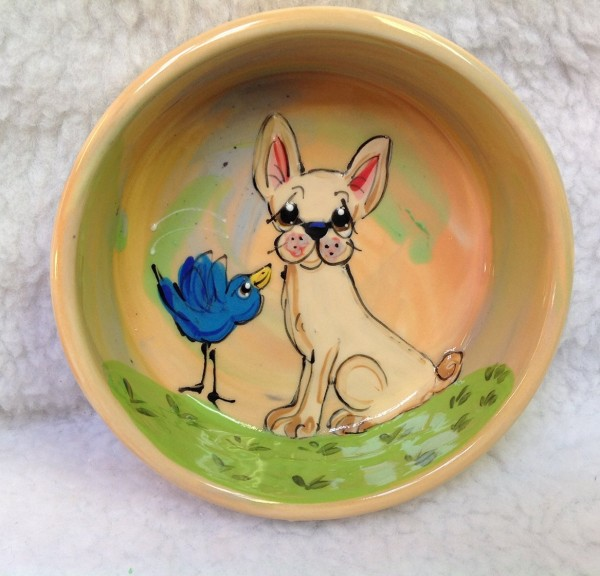 8 Chihuahua Dog Bowl for Food or Water. Personalized at no Charge. Signed by Artist, Debby Carman.