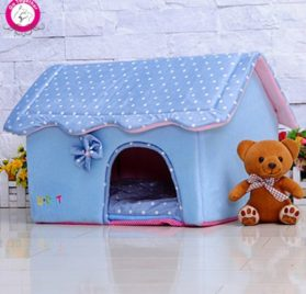 BOSUN(TM) Cute Folding Small Pet Dog House Soft Foams Padded Puppy Bed Pens Dot Printing Detachable Dog Kennels For Chihuahua 2