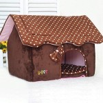 BOSUN(TM) Cute Folding Small Pet Dog House Soft Foams Padded Puppy Bed Pens Dot Printing Detachable Dog Kennels For Chihuahua 3