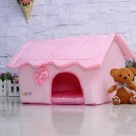 BOSUN(TM) Cute Folding Small Pet Dog House Soft Foams Padded Puppy Bed Pens Dot Printing Detachable Dog Kennels For Chihuahua 4