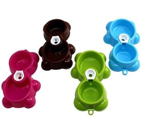 Binmer(TM)Hot Pet Dog Bowl Dish Water Food Feeder Fountain Bear Double Bowl Doggy Puppy Dog Cat Bowl (Green) 2