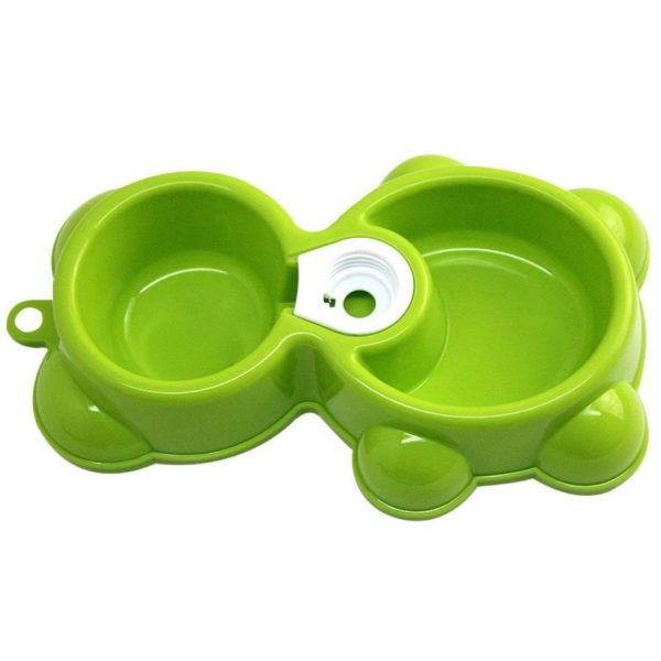 Binmer(TM)Hot Pet Dog Bowl Dish Water Food Feeder Fountain Bear Double Bowl Doggy Puppy Dog Cat Bowl (Green)