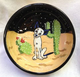 Chihuahua 6 Deep Dish Ceramic Dog Bowl for Food or Water. Personalized at no Charge. Signed by Artist, Debby Carman.