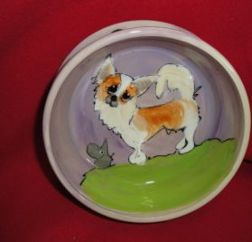 "Chihuahua 6"" Dog Bowl for Food or Water. Personalized at no Charge. Signed by Artist, Debby Carman."