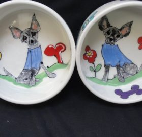 Chihuahua 8-6 Pet Bowls for Food Water. Personalized at no Charge. Signed by Artist, Debby Carman.