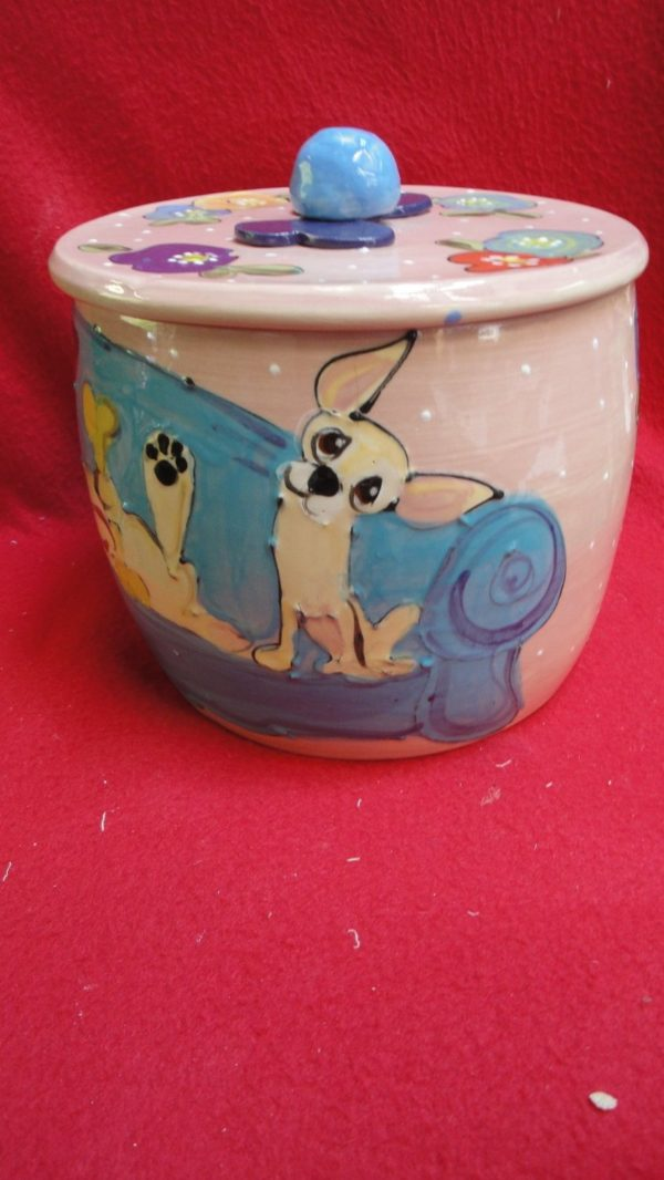 Chihuahua Ceramic Treat Jar. Personalized at no Charge. Signed by Artist, Debby Carman.