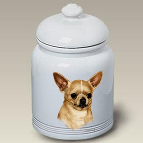 Chihuahua Tan Dog Treat Jar by Tamara Burnett