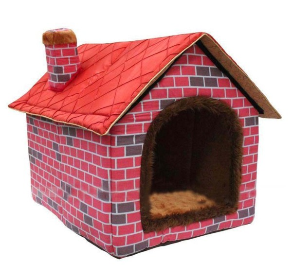 Culon Warm Indoor Soft Kennel Pet Big Dog House Red Doggy Beds with Mat