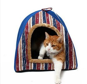 Mdeho Striped Dog Cat Bed Christmas Style Cuddler Portable Folding Cat Kennels Doggie Beds 2