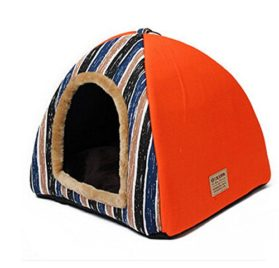 Mdeho Striped Dog Cat Bed Christmas Style Cuddler Portable Folding Cat Kennels Doggie Beds