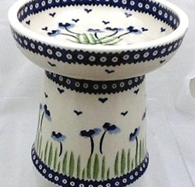 Polish Pottery Raised Dry Food Dish Cat Dog RMAN Blue Poppies 2