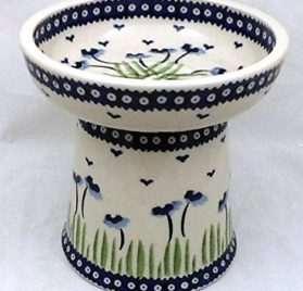 Polish Pottery Raised Dry Food Dish Cat Dog RMAN Blue Poppies 3