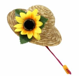 Beautiful 3D Sunflower Handcrafted Woven Straw Pet Hat Costume Cat Dog Hat Toy Hat Novelty Cosplay Farmer Hat w Adjustable Chin String 2