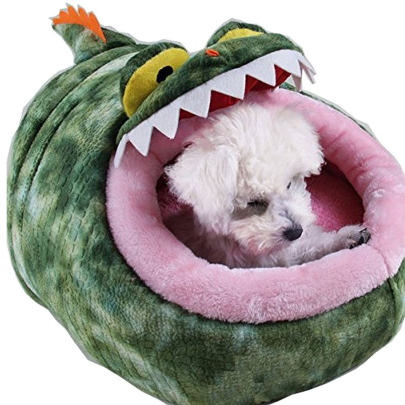 Cute Cartoon Soft Warm Short Plush Washable And Detachable Animal Shape Pet Dog Bed House Kennel
